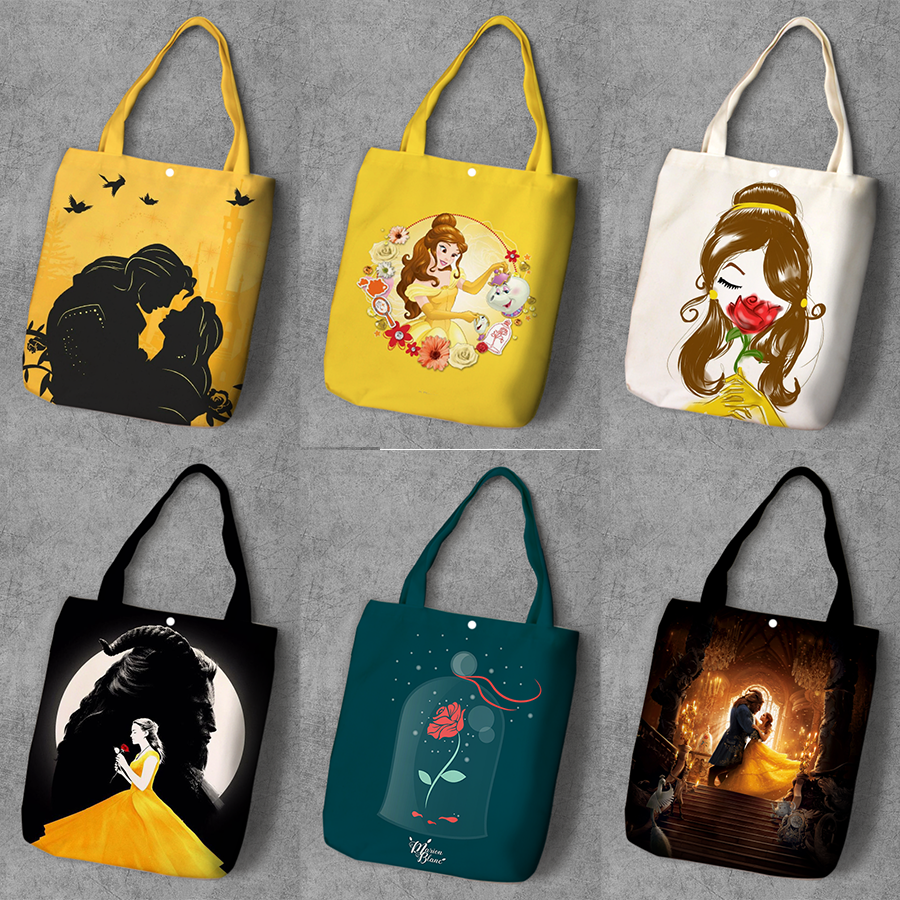 Beauty Beast  Cartoon Printed Canvas Shopping Backpack Large Capacity Tote Fashion Ladies Casual Shoulder Bags
