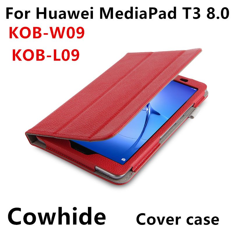 Case Cowhide For Huawei Mediapad T3 8.0 Protective Smart Cover Genuine Leather T38 Tablet PC Kob-W09 L09 Protector Sleeve