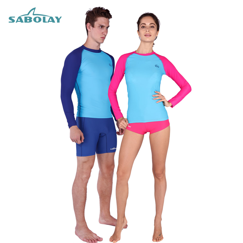 Sabolay 2016 Surf Swimwear Prevent Jellyfish Quick-drying  Rash Guard long surfing suit Sunscreen Beach Diving rashguard red6712