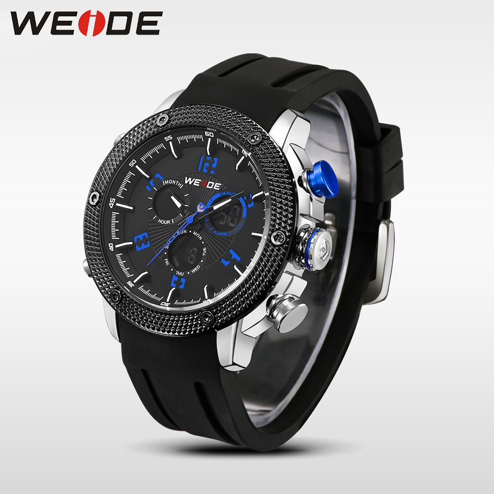 WEIDE Casual genuin Brand Watch Men Sport Auto Date Quartz Digital  Silicone Waterproof  Wristwatch Multiple Time Zone masculino watch men led digital waterproof wristwatch casual man sport watches 2017 new weide famous brand saat erkekler horloges mannen