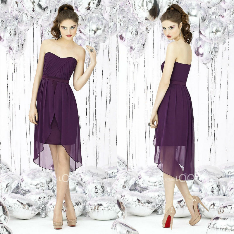 2013 fashion sweetheart empire pleat purple high low for High low wedding dress patterns