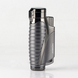Image 5 - Encendedor de Gas butano de tubo, linterna de cigarro Turbo, encendedor, 3 boquillas, pistola de fuego a prueba de viento, Metal, 1300 C, sin GAS
