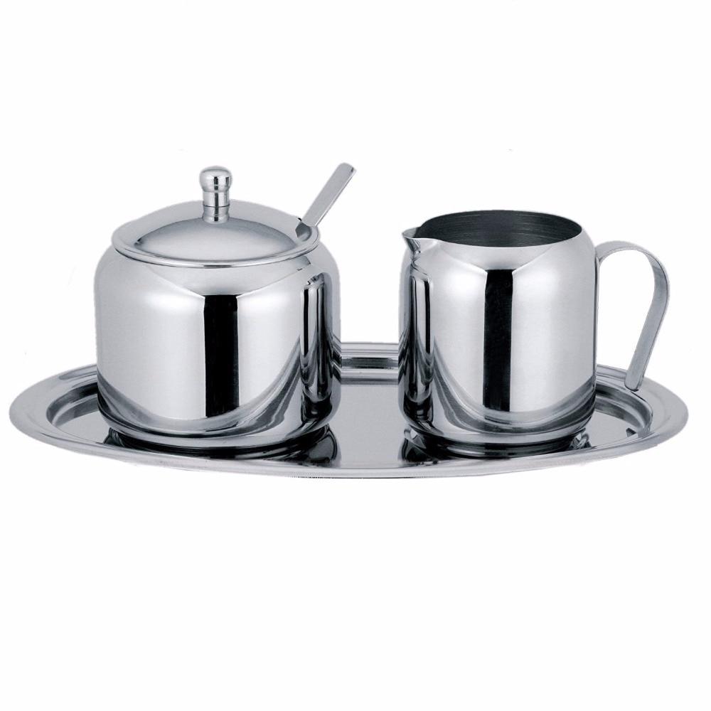 Livraison Gratuite Crème et Le Sucre Ensemble-l'ensemble comprend un couvert sugar bowl avec cuillère, un creamer et un ovale plateau (00331)