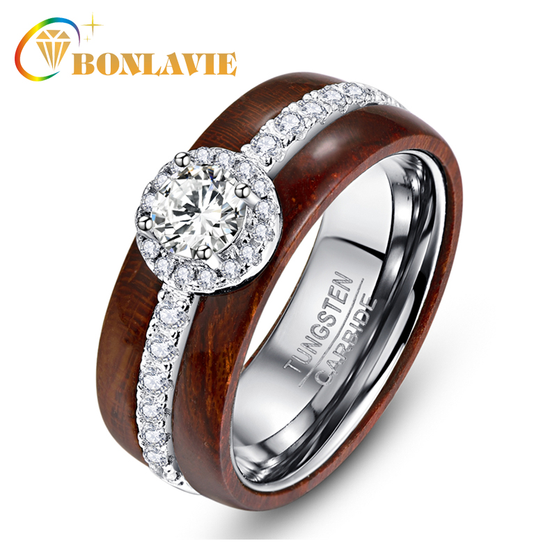 BONLAVIE Exquisite Tungsten Carbide Steel Ring with Silver Zircon Real Polished Koa Wood Rings for Women Wedding Jewelry tungsten carbide steel ring with wire drawing application