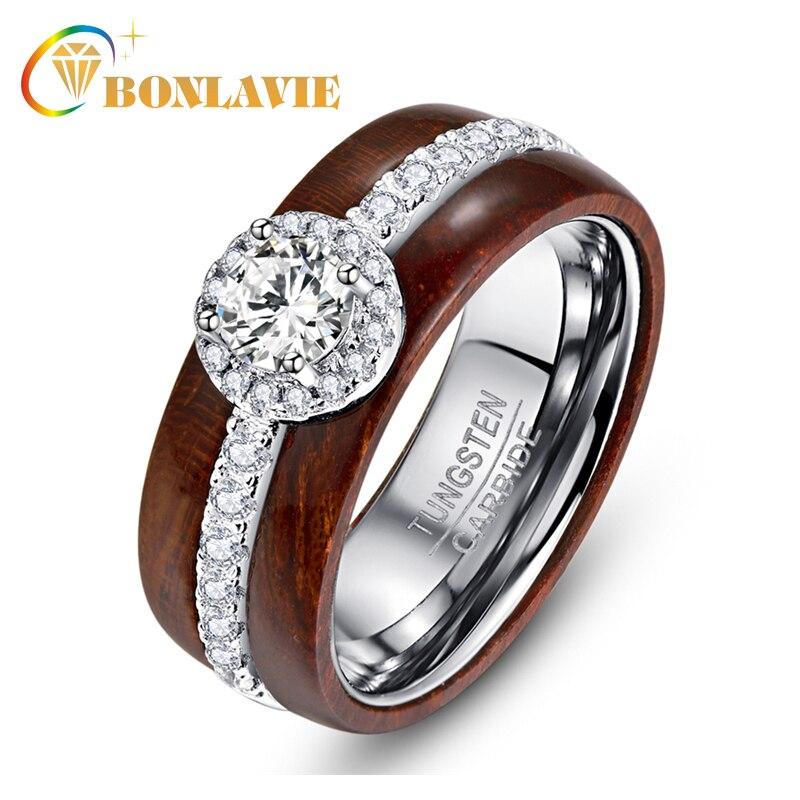 BONLAVIE exquise bague en acier au carbure de tungstène avec Zircon argent véritable poli Koa bois anneaux pour les femmes bijoux de mariage
