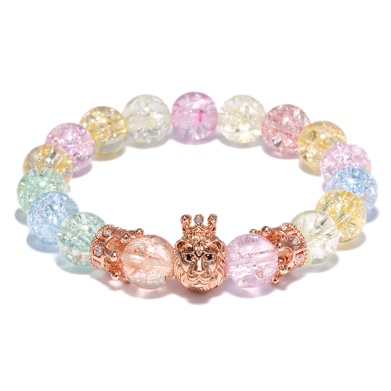Big Glass Stone Beads Rose Gold Color Lion Bracelets For Women 10MM Crystal Bead Charm Bracelet Hand Jewelry Girl Gifts