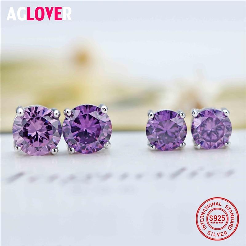 925 Sterling Silver Stud Earring Four Claws 5 6mm Cubic Zircon Jewelry Earrings For Women Gift For Weddings in Earrings from Jewelry Accessories