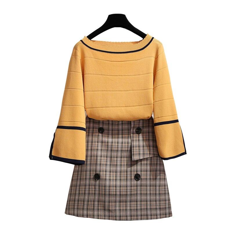 Femmes deux pièces costume demi flare manches col rond pull pull + plaid jupe au-dessus du genou mini 2018 automne nouveau femme