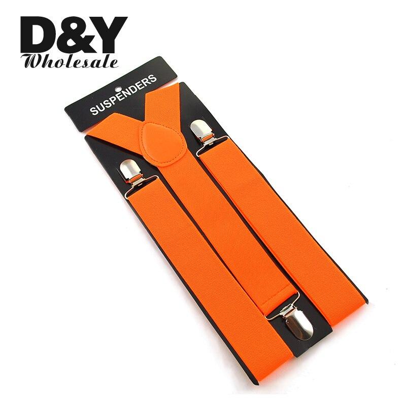 Women Men'S Shirt Suspenders For Trousers Pants Holder Clip-on Braces Elastic 3.5cm Wide Candy Orange Gallus Wholesale & Retail