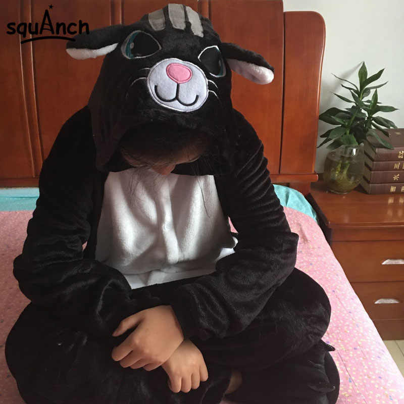 846abe686b1 Animal Onesies Smile Black Cat Pajama Men Women Adult Sleep Suit Cartoon  Party Jumpsuit Game Play
