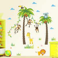 Girafe Lion singe palmier forêt animaux stickers muraux pour enfants chambre enfants chambre stickers muraux pépinière décor affiche murale