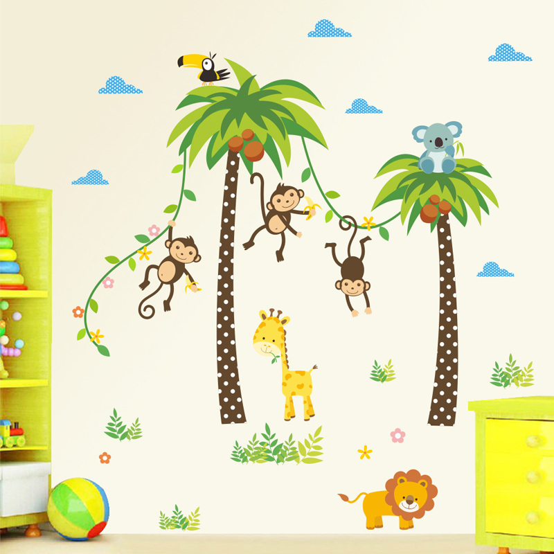 Giraffe Lion Monkey Palm Tree Forest Animals Wall Stickers For Kids Room Children Bedroom Wall Decals Nursery Decor Poster Mural