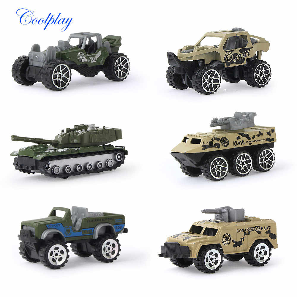 6 PCS 1:64 Scale Mini Diecast Toy Vehicles Sliding Cars Model Metal Alloy Military Model Cars Tank Vehicles For Kids }