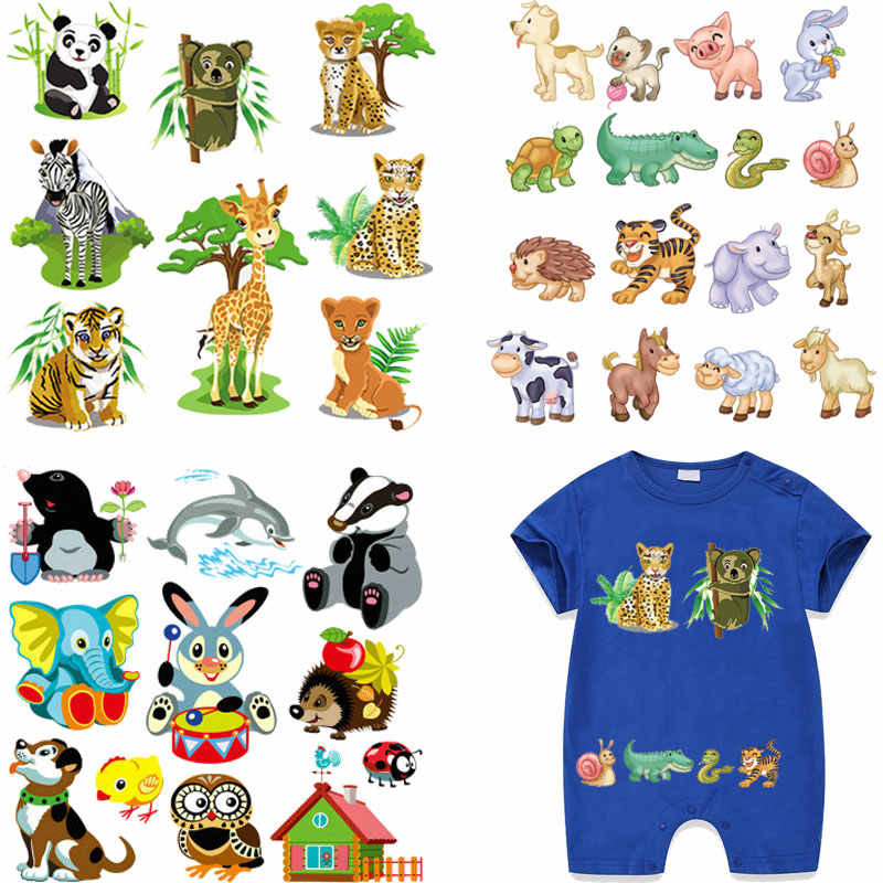 cartoon jungle animals tiger dog deer ironing stickers iron patches for kid infant clothing heat transfer for diy patch vetement