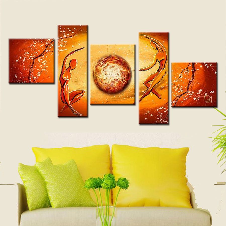 Hand made abstract figure painting modern decorative wall painting on canvas yellow wall pictures for living room