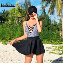 Deep V Plaid Swimwear Women One Piece Sexy Cross Bandage Thong Swimsuit Skirt Swimming Suit Korean Beachwear Lace Up Swim Set