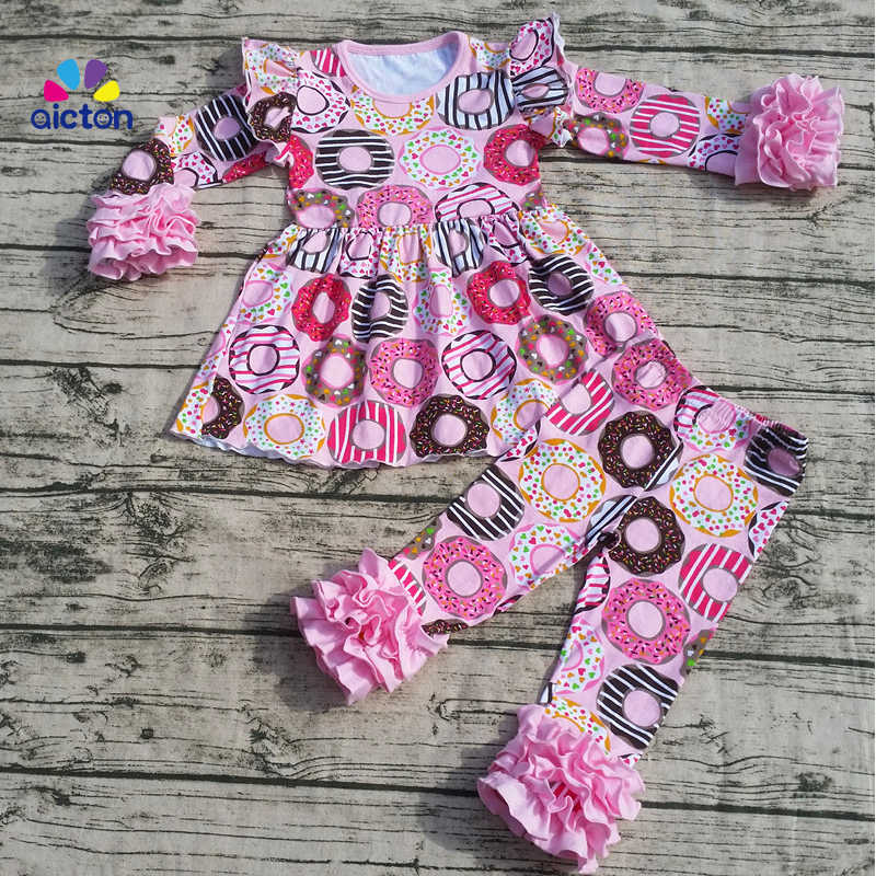 1c4f24d68c 2017 new baby girls clothes girls V-day outfits pink top with Hot Donut  ruffle