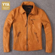 Japanese Style Vintage Genuine Cow Leather Jackets Men Zippers Brand Luxury High Quality Real Leather Cowhide Slim Jacket Coats