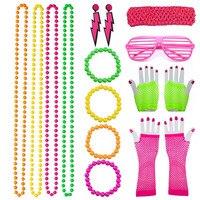 80s Disco Accessorie Women Retro Disco Neon Costume Beads Necklace Bracelets Multicolor Prop Rock N Roll Star 1980s Theme