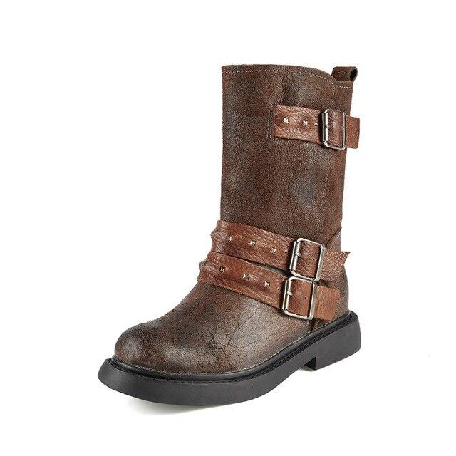 34fba9e3407cd Sougen buty do połowy łydki rocznika prawdziwej skóry kobiet buty płaskie  buty kobiet buty botki jesień