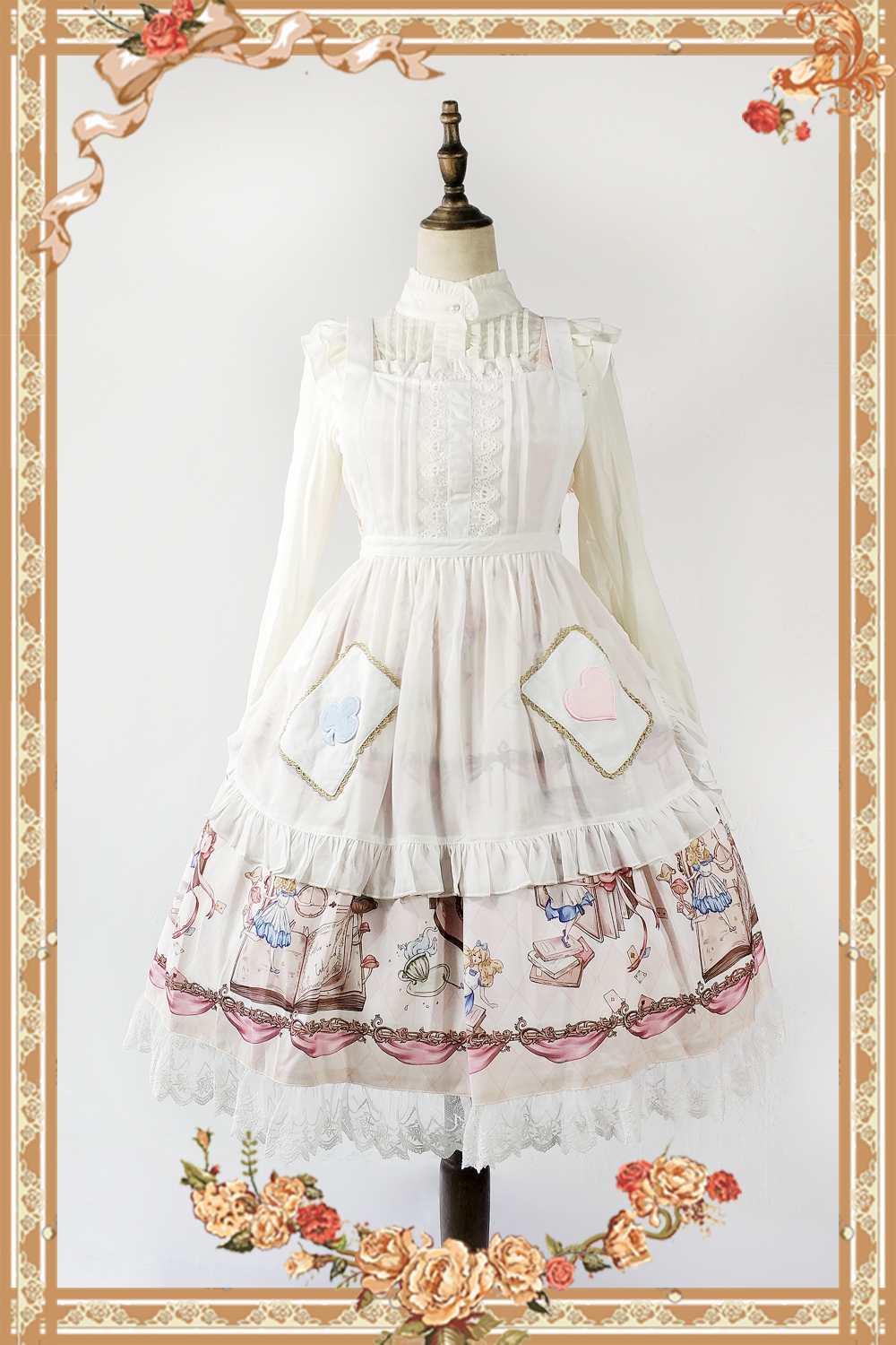 The Book Of Alices Mysterious Land ~ Sweet Lolita White Apron with Pockets by Infanta