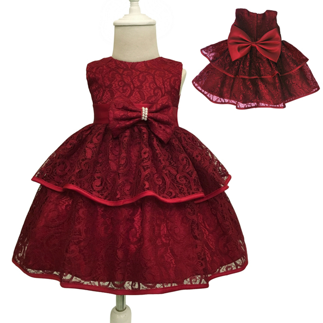94314869892c Free Shipping 3M-24M Newborns lace Infant Dresses 2018 New Arrival Burgundy  Baby Dress For 1 Year Girl Birthday Christening Gown