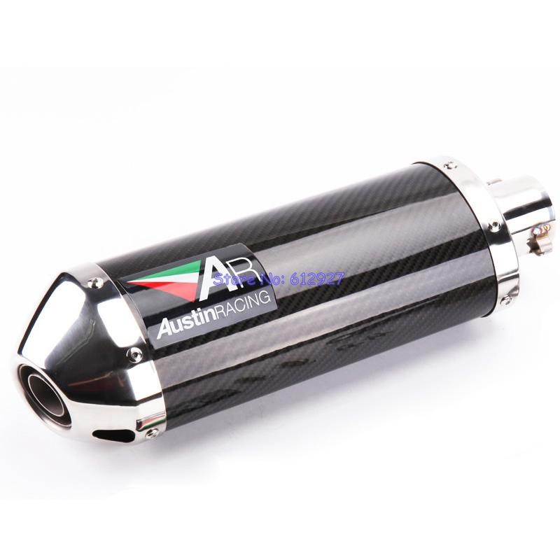 Universal Inlet 51mm Motorcycle Exhaust Pipe Muffler AR Carbon Fiber Modified Big Motorbike Muffler Exhaust End Pipe Escape for bmw motorcycle exhaust pipe muffler inlet 51mm 61mm r3 gp exhaust mufflers carbon fiber exhaust pipe with sticker laser logo