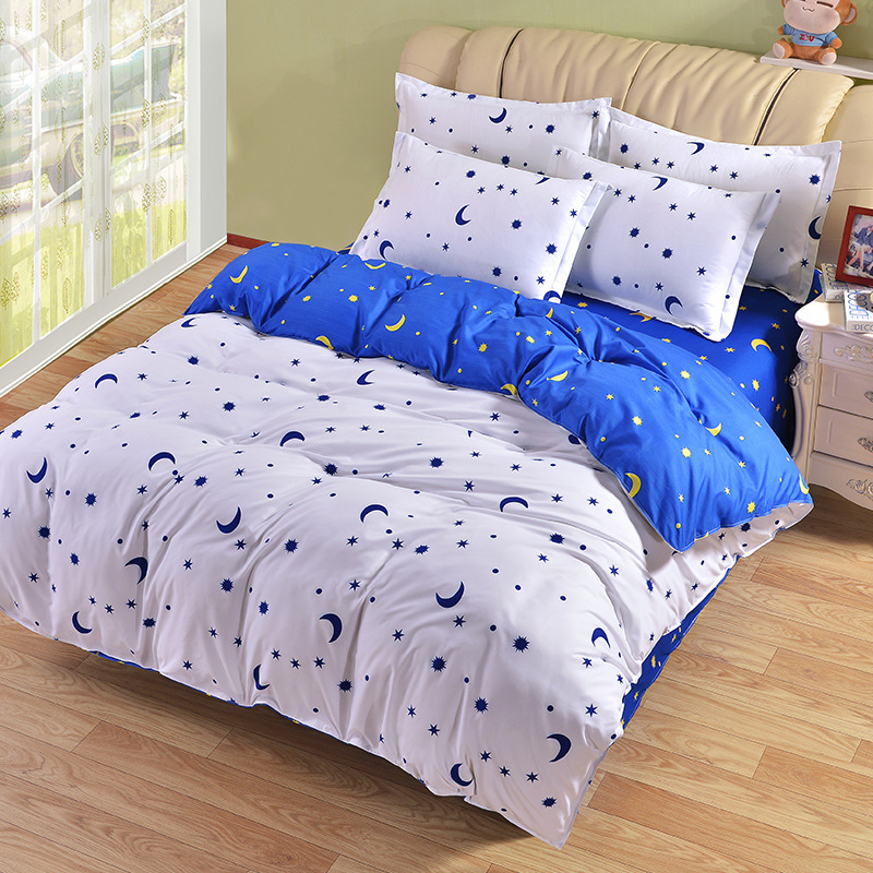 Newest Geometric Pattern Blue White Moon Stars Home BeddingSet Stripes Soft Comfortable Beddingset Twin Full Queen King Size