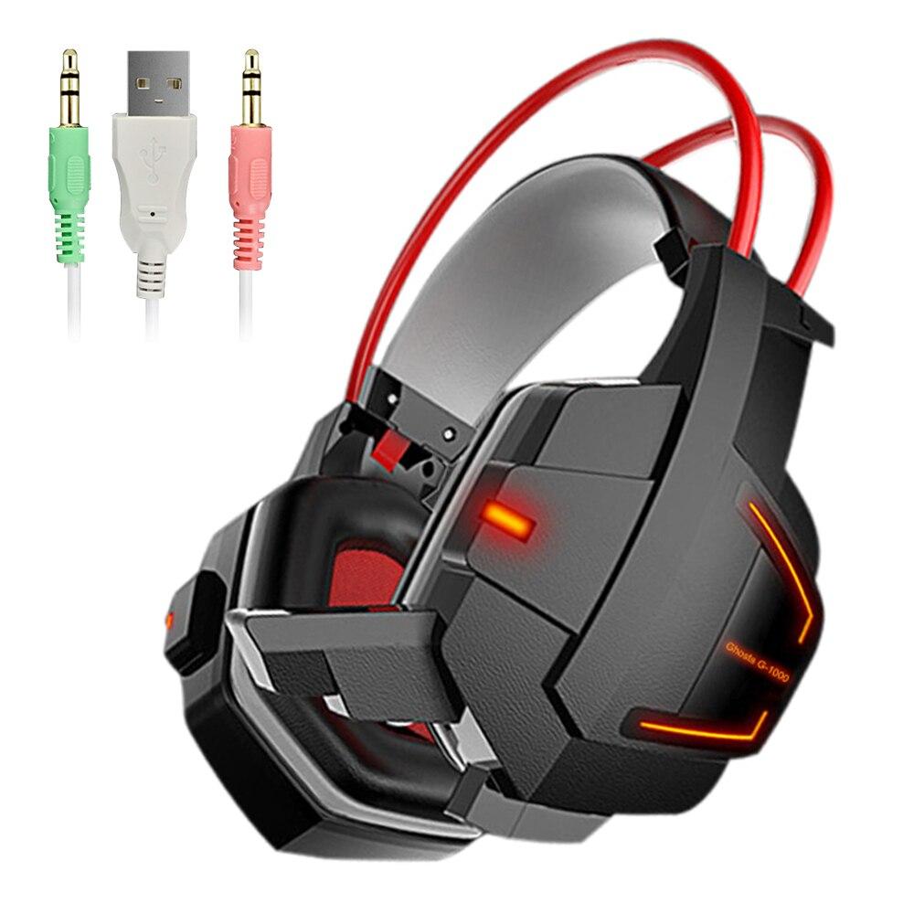 Aipal casque De Jeu pour ordinateur Câblé Profonde Stéréo Basse bruit annulation USB 3.5mm Casque AUX Gamer avec Microphone LED
