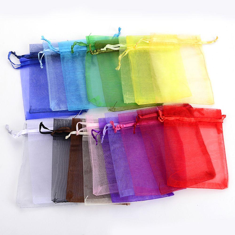 50 pcs 7x9 CENTÍMETROS De Armazenamento Sacos Drawsting Jóias Embalagem Sacos de Festa de Casamento Decoração de Organza Drawable Sacos Do Presente Bolsas colorido