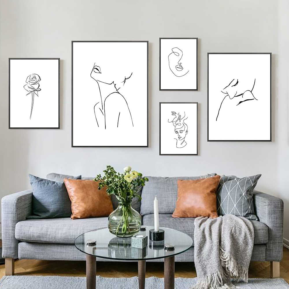 Lines Poster Woman Painting Sketch Wall Art Black And White Painting Modern Art Canvas Nordic Abstract Picture Minimalist Poster