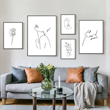 Lines Poster Woman Sketch Wall Art Modern Black and White Painting Posters Prints Nordic Abstract Minimalist Unframed