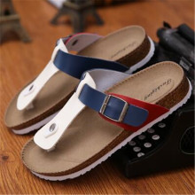EUR 35-46 Summer style Man fashion flats slippers Lovers Cork Beach Sandals High quality flip flops Black, brown,white red