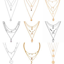 b4ec04ac9b10 2019 nuevo multi-capa Luna cristal COLLAR COLGANTE retro damas collar de  encanto collar de fiesta accesorios de la joyería