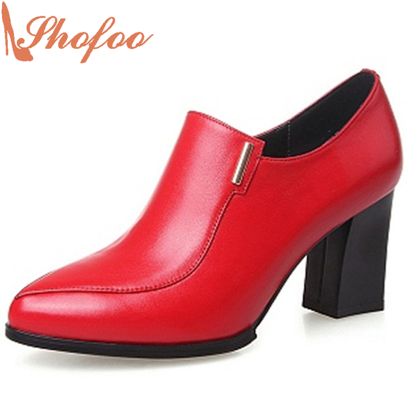 Shofoo Spring&Autumn Women Fashion Black&Red High Heels Round Toe Pumps Dress&Office Shoes With Zipper ,Large Size 4-16 2017 autumn fashion black genuine leather chunky heels round toe dress office career zip square heel shoes chaussure shofoo
