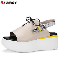 Asumer Wedges High Heels Shoes 6 5cm Cow Leather Woman Shoes Sandals Buckle Summer Platform Shoes