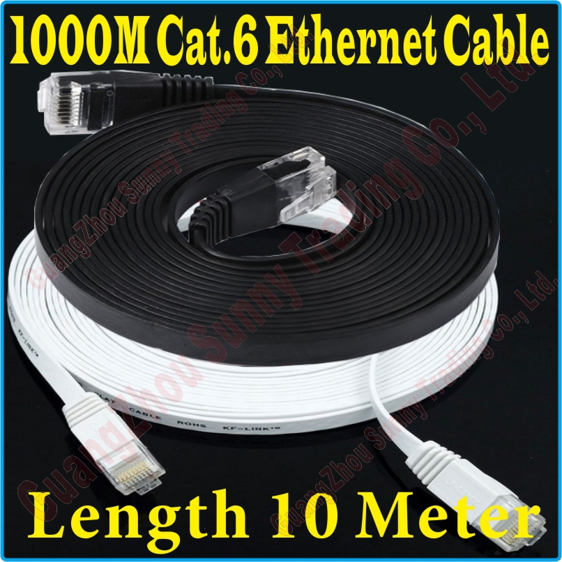 new 30ft 10m cat6 cat 6 flat utp ethernet network cable. Black Bedroom Furniture Sets. Home Design Ideas