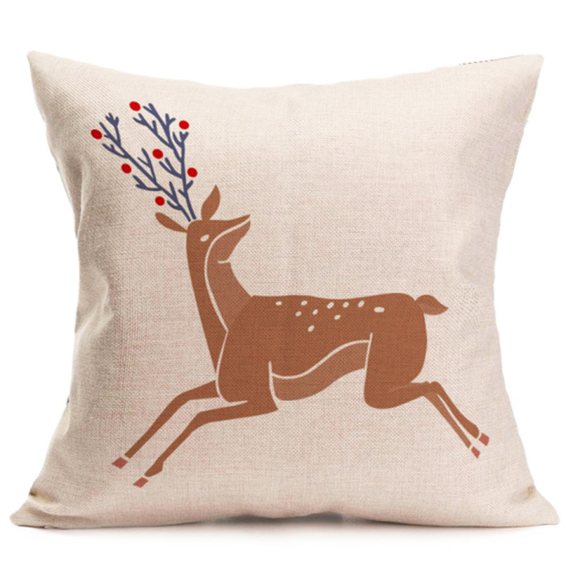 Pillowcase 45*45 Christmas Pillowcase Christmas Decorations For Home 2018 Christmas Deer Printed Pillow Case kussensloop O30#F