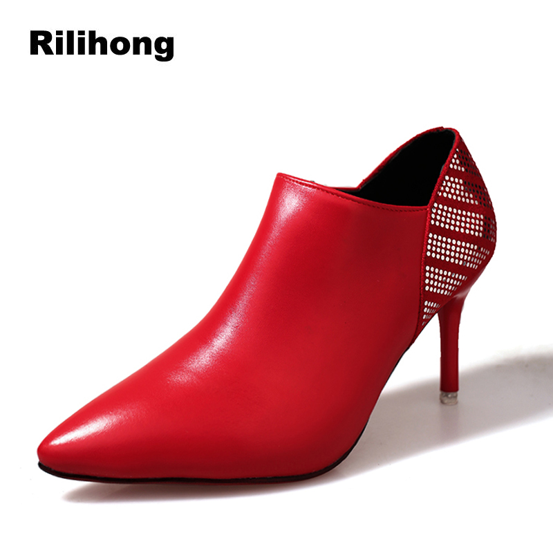 Rilihong Shoes Women Thin High Heels Ankle Boots 2018 Autumn Pointed Toe Zipper Boots Sexy Party Ladies Shoes Size 34 39 spring autumn women shoes ankle boots flock bling high thin heels fashion sexy pointed toe zip zipper big size embroidery flower