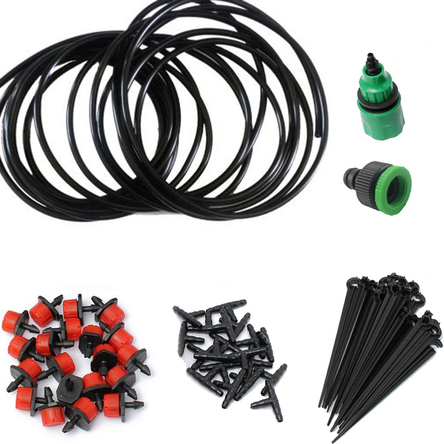 5/10/15M DIY Micro Drip Irrigation System Plant Automatic Self Watering Garden Hose Kits with Connector+10x Adjustable Dripper