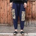 China estilo de linho de algodão estampado calças elástico na cintura solta calça harém dos homens calça de linho de alta qualidade plus size M-5XL