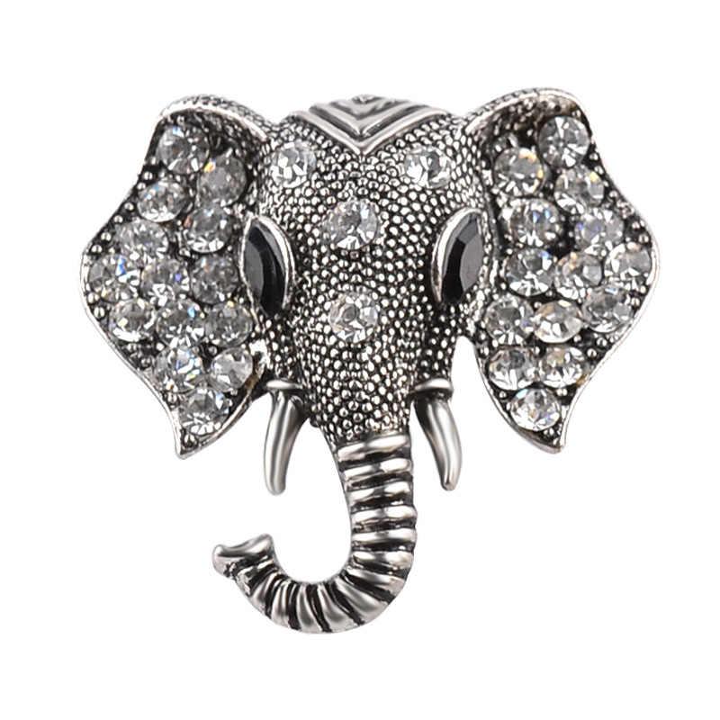 Fooderwerk Perhiasan Kreatif Zinc Alloy Crystal Emas Sliver Warna Gajah Wanita Bros Aksesoris Pakaian Pin