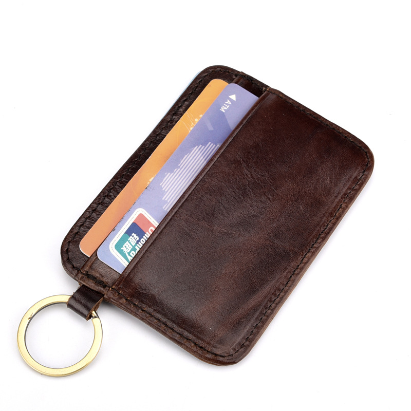 Slim Front Pocket Genuine Leather Wallet Coin Purse Pouch Card Case Handmade Men