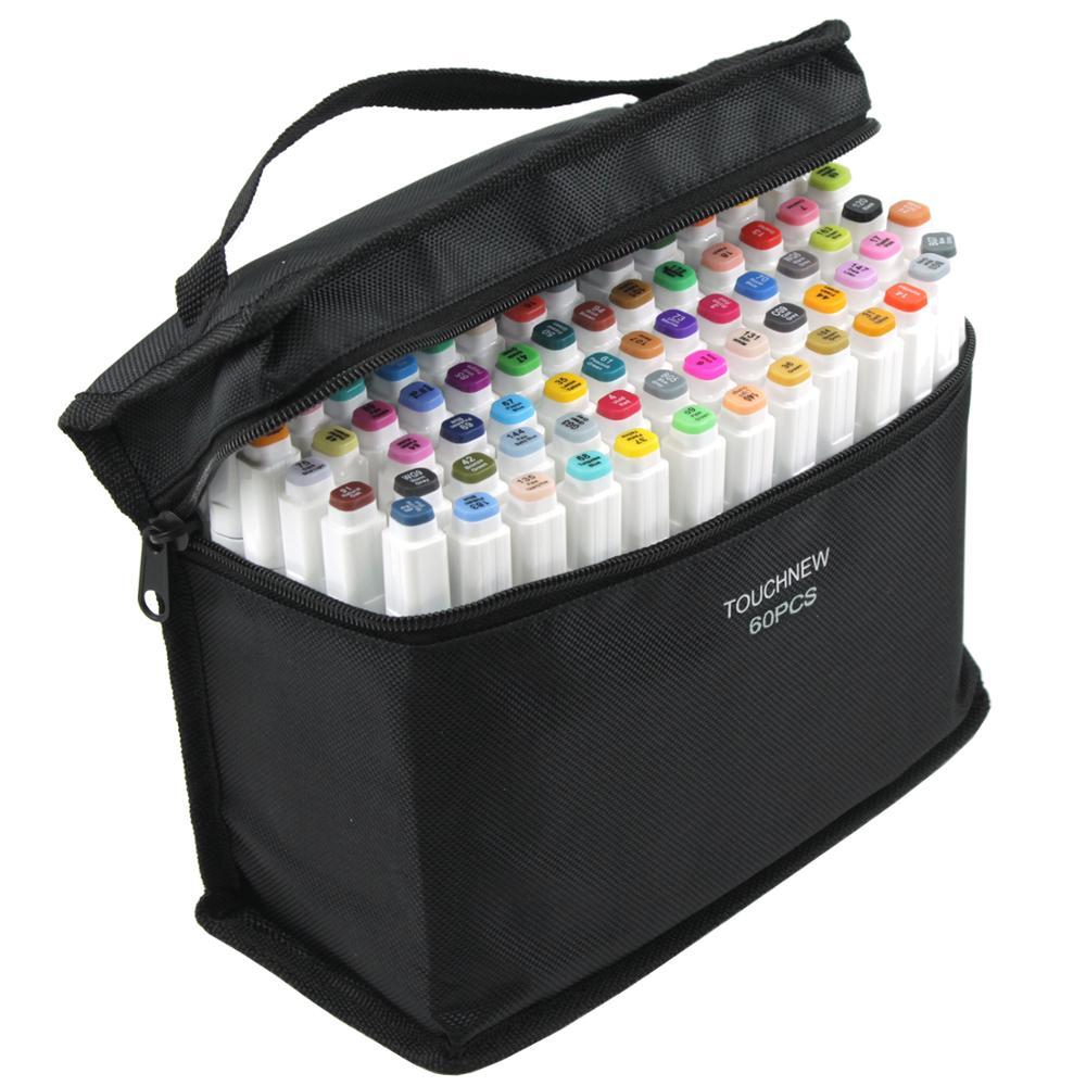 Conjunto de marcador de pincel gêmeo touchfive graffiti marcador caneta conjunto touchnew esboçar marcadores 60 cores desenho caneta manga design para a escola