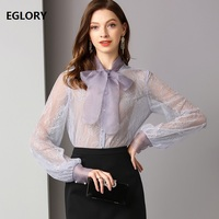 High Quality Lace Blouse 2019 Spring Summer Sexy Lace Shirt Women Bow Collar Long Sleeve Purple Blouse Shirt Female Sexy Tops