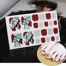Fashion Toenails Stickers Mix Nail Design Adhesive Full Cover Summer Style New Accessories Art Manicure Decals D18