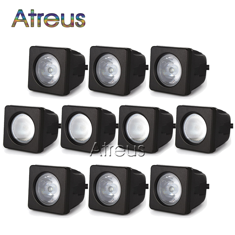 10Pcs 2Inch 10W Car LED Work Light 12V 24V Square Spot DRL For ATV 4X4 Truck Offroad Trailer Bicycle Boat Motorcycle Fog Lights