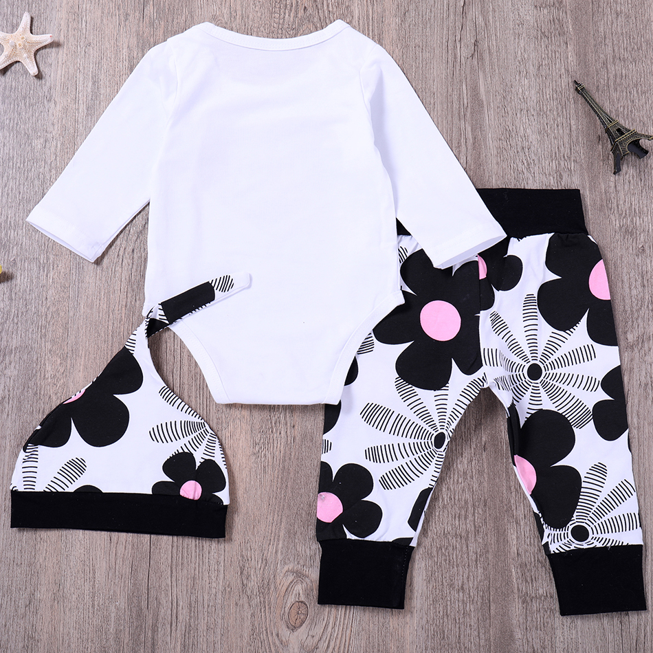 2019 Baby Girl Clothes Newborn Infant Kids Girls Letter Tops Romper Print Pants Hat Baby Sets 3pcs Fashion Baby Girl Clothing