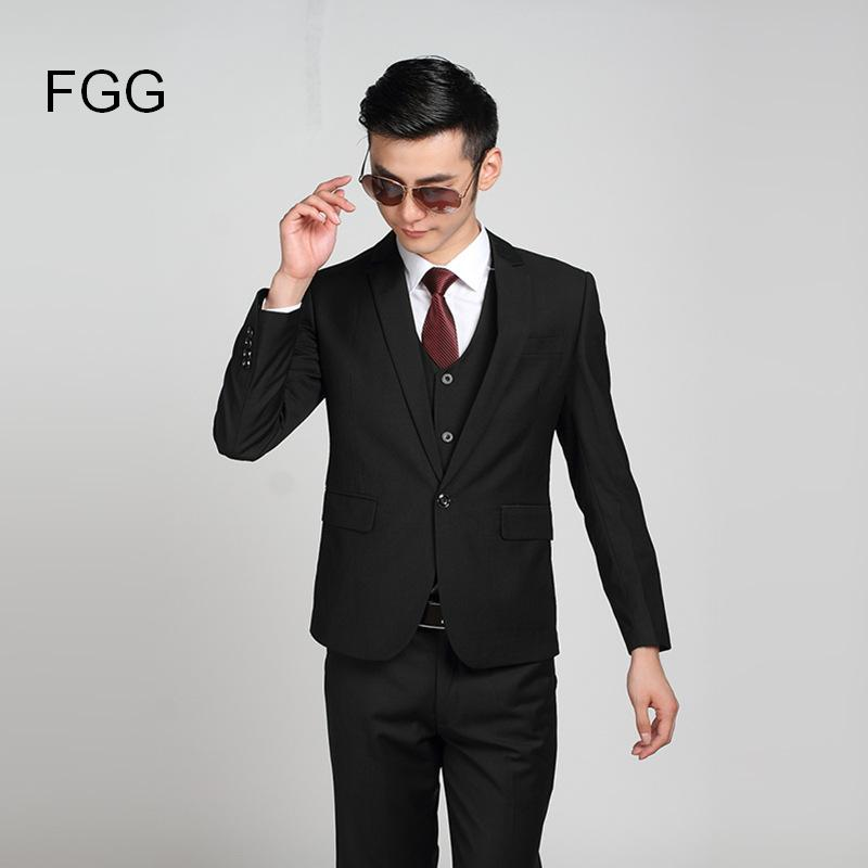Classic Twill Mens Fashion Brand Groom Bestman Wedding Black Suit Business Men Formal Suits Set One Button Suit Jacket and Pants