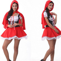 Woman Little Red Riding Hood Cosplay Fantasia Disfraces Halloween Costume Exotic Apparel Holiday Festival parade game uniforms